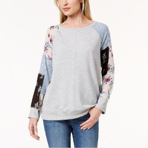 Style & Co Gray/Floral Patchwork-Sleeve Sweatshirt